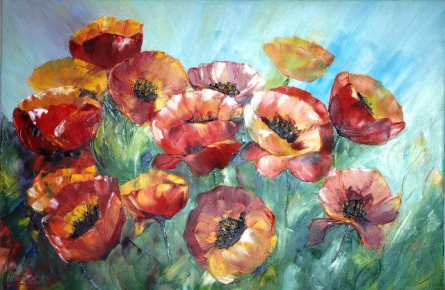 Coquelicots (champs) huile 60X90