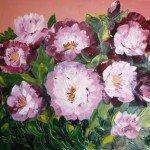 Pivoines roses huile 50X70