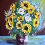 Tounesols bouquet vase huile 80X80